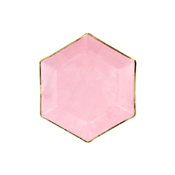 Luxe Hexagonal Pink And Gold Plates  Party Plates Party Deco - Hello Party