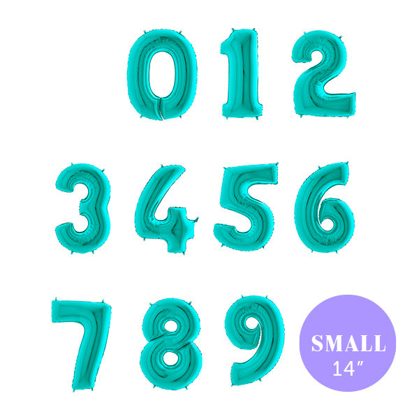 "Small Tiffany Blue Number Foil Balloons (14"")"