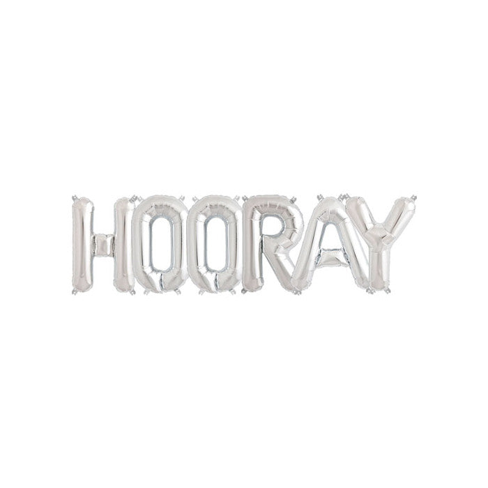 HOORAY - Silver 16 inch Foil Letter Pack  Balloons Hello Party - All you need to make your party perfect! - Hello Party