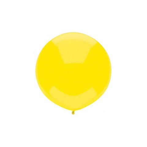 Large Round Yellow Plain Latex Balloon 17""
