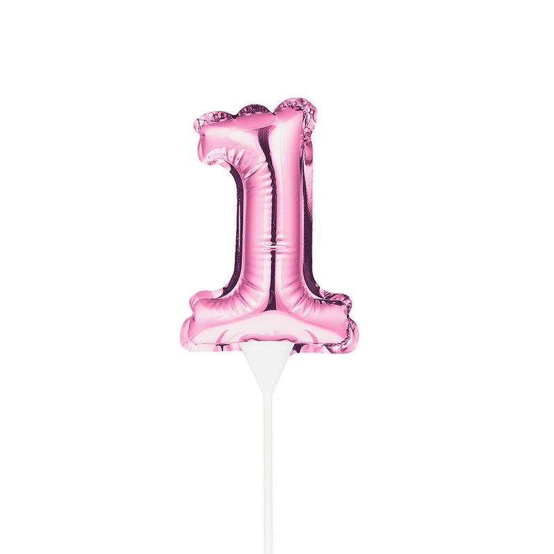 Mini Pink Balloon Number 1 Cake Topper