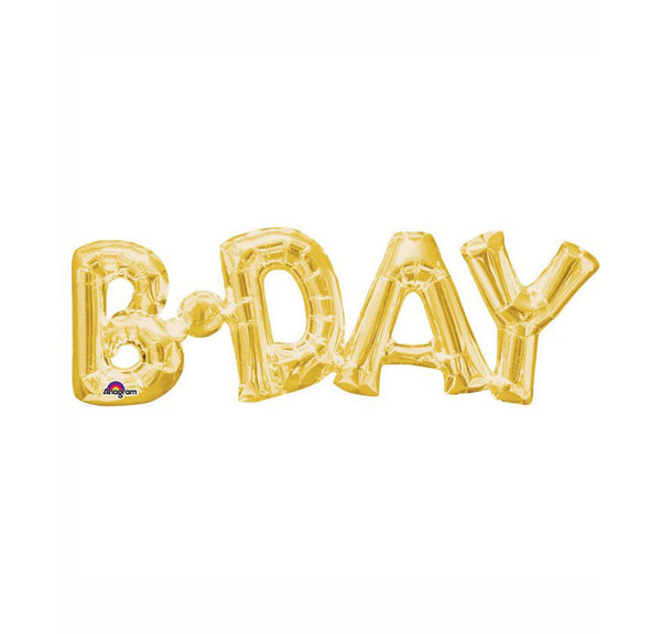 "Gold B-Day Air Fill 26"" Shape Foil Balloon  Balloons Hello Party - All you need to make your party perfect!  - Hello Party"