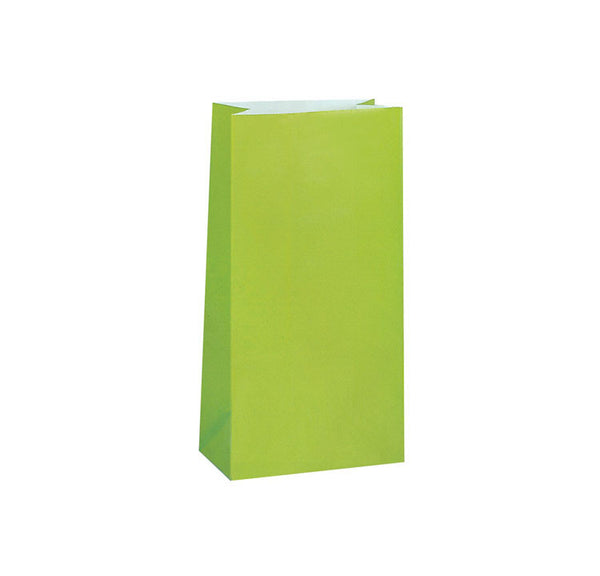 Lime Green Paper Sweet Bags (Pack of 12)
