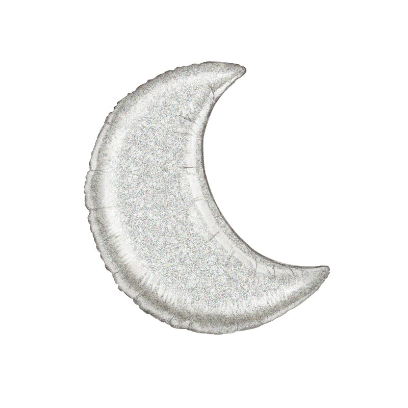 Holographic Silver Crescent Moon Foil Balloon  Balloons Betallic - Hello Party