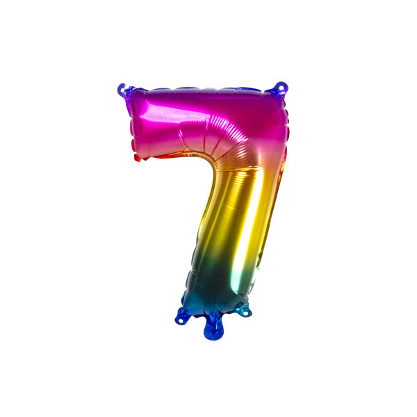 Small Rainbow Number Foil Balloons (36cm)