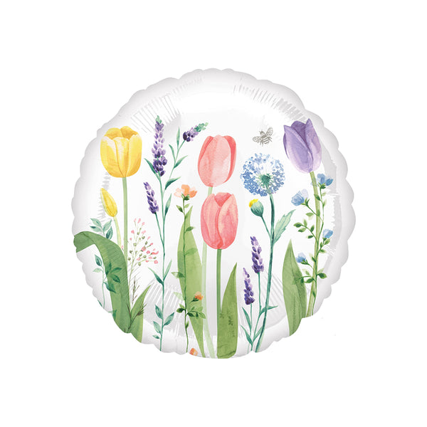 Tulip Garden Round Foil Floral Party Balloon