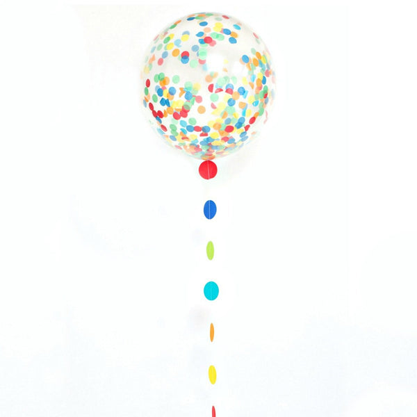 "Rainbow Confetti Balloon and Tail Kit (24"")  Big Round Latex Balloons Unique - Hello Party"