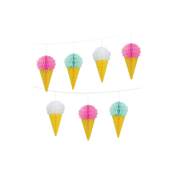 Ice Cream Honeycomb Garland Party Decorations