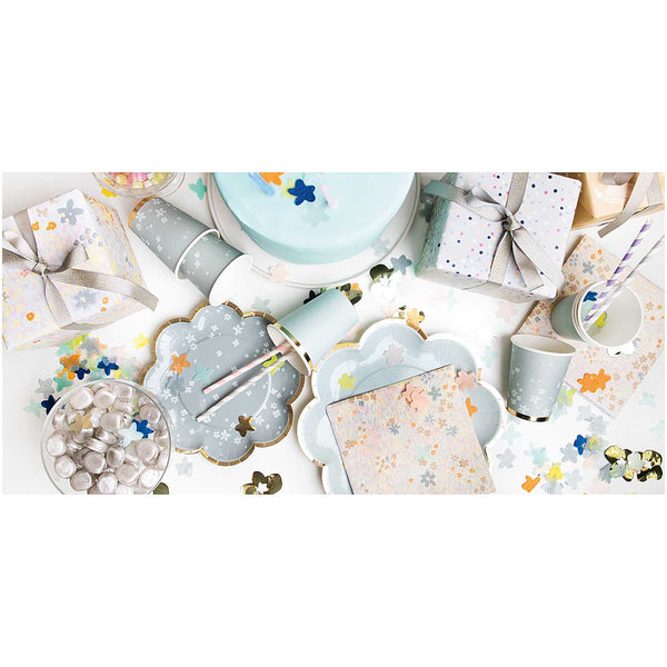 Blue-grey Flower-Shaped Paper Party Plates Rico Design