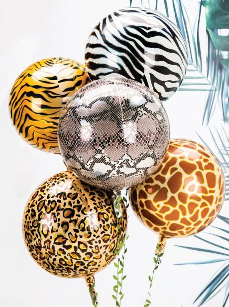 Giraffe Print Orbz Balloon  orb balloon Anagram - Hello Party