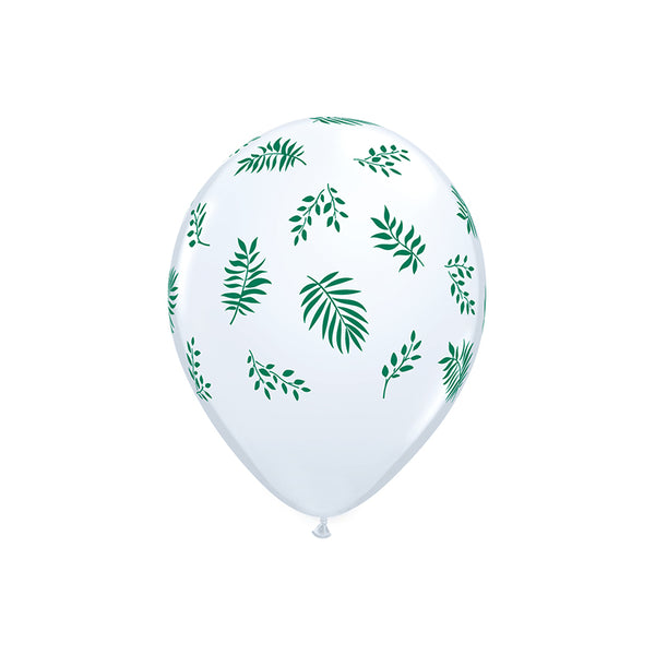 Elegant Greenery White Balloons (pack of 5)  Printed Latex Balloons qualatex - Hello Party