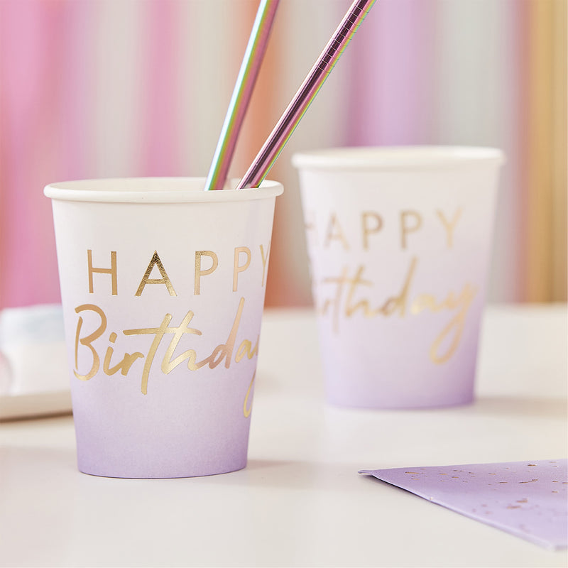 Lilac Ombre Gold Foiled Happy Birthday Cups