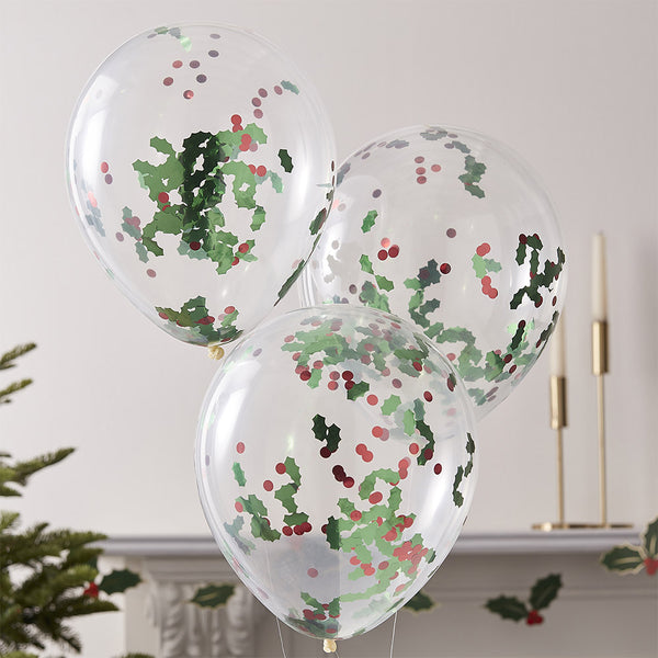 Christmas Holly & Berries Confetti Party Balloons