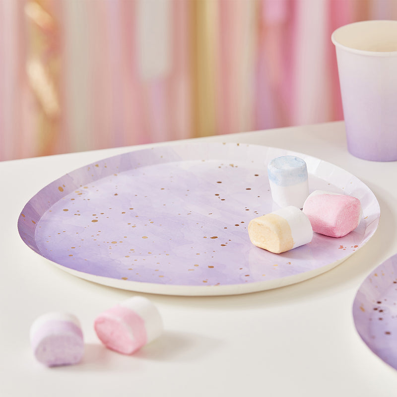 Lilac Gold Speckle Paper Plates