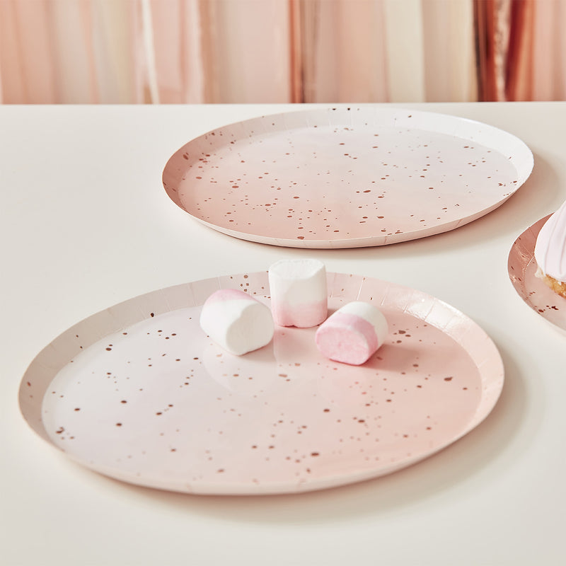 Pink Rose Gold Speckle Paper Plates
