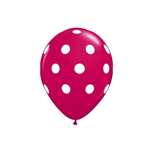 Jewel Magenta Polka Dot Balloons (Pack of 5)  Printed Latex Balloons Hello Party Essentials - Hello Party