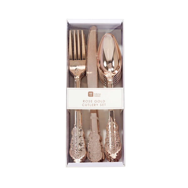 Party Porcelain Rose Gold Cutlery  Party Cutlery Talking Tables - Hello Party