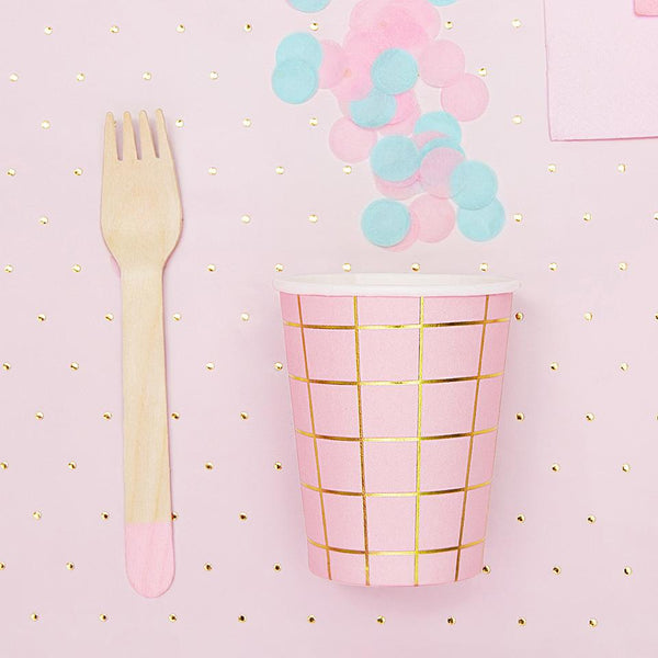 Gold Grid Pink Cups