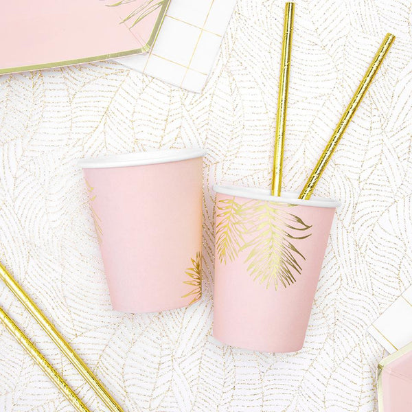 Gold Leaf Pink Cups