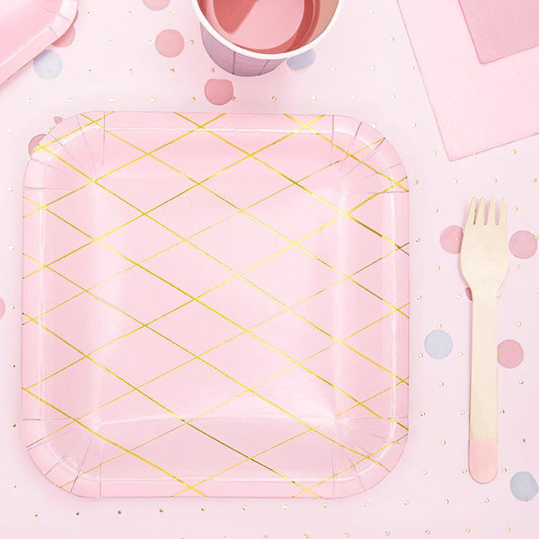 Pink Grid Square Party Plates Stylish Tableware