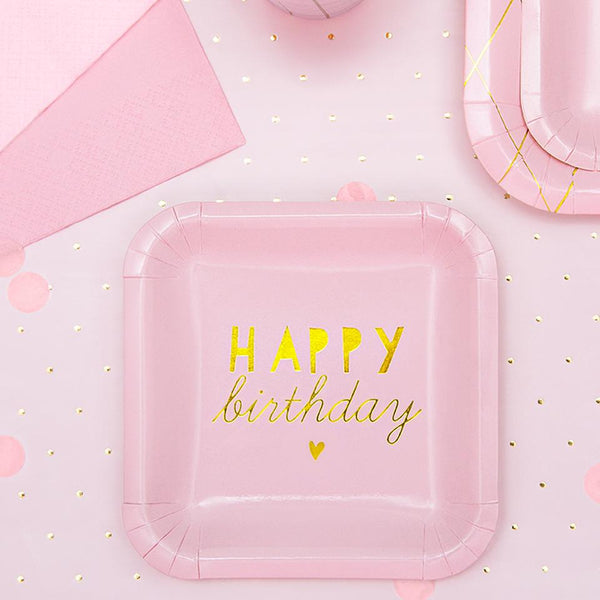 Little Pink Happy Birthday Square Party Plates