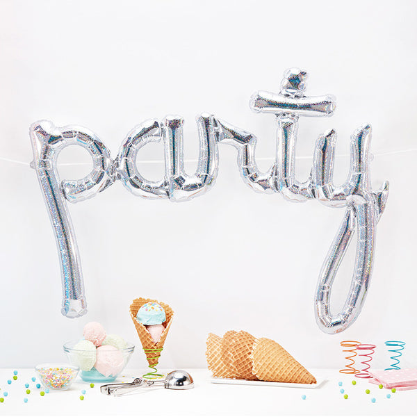 Party Silver Holographic Script Balloon
