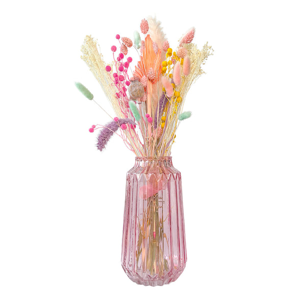 Pink Glass Ridged Vase