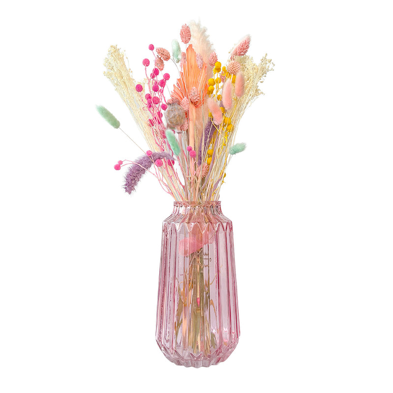 A Happy Bunch - Sherbet Rainbow Dried Flowers | Baked Blooms and glass pink vase