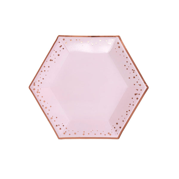 Pink and Rose Gold Stars Large Plates (pack of 8)  Party Plates Neviti - Hello Party