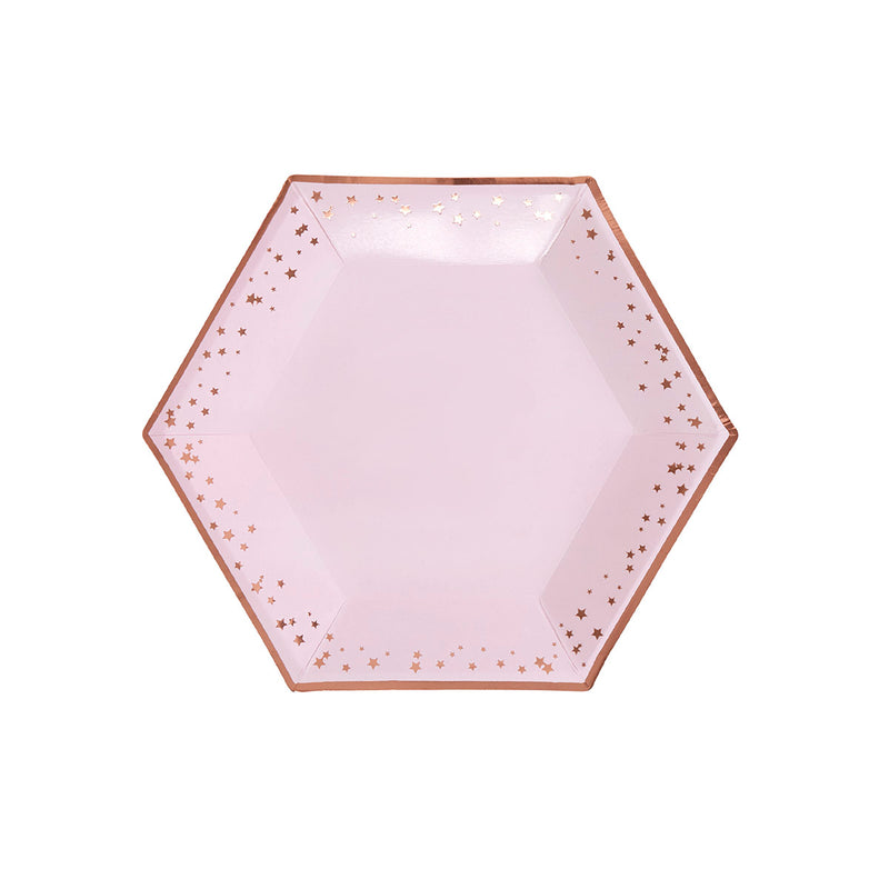 Pink and Rose Gold Stars Large Party Plates (pack of 8)