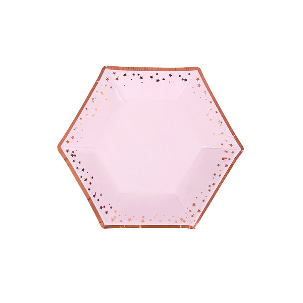 Pink and Rose Gold Stars Medium Plates (pack of 8)  Party Plates Neviti - Hello Party