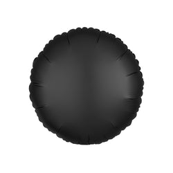 Oynx Black Satin Round Foil Balloon  Standard Foil Balloons Anagram - Hello Party