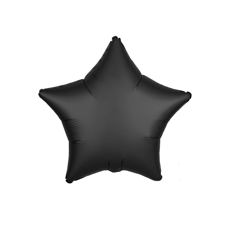 Oynx Black Satin Star Foil Balloon  Standard Foil Balloons Anagram - Hello Party