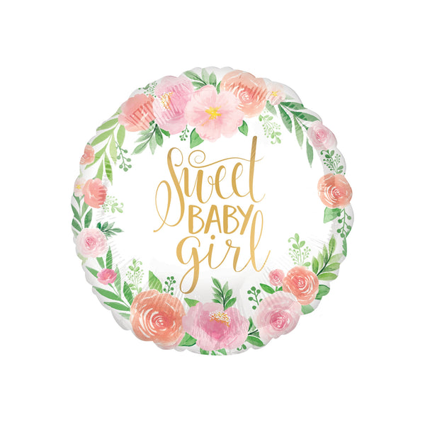 Sweet Baby Girl Floral Round Foil Balloon