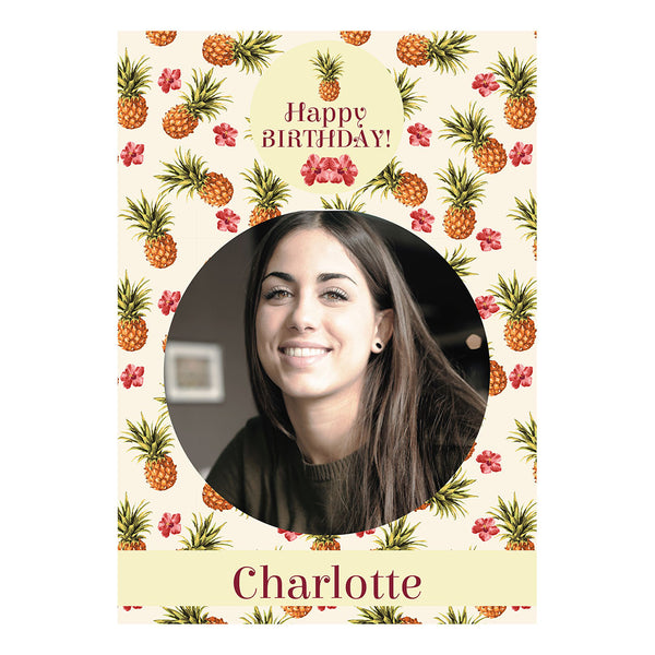 Birthday Pineapples! Poster <br/> with a space for 1 photo and your name or message  Personalisable Poster Hello Party - All you need to make your party perfect! - Hello Party