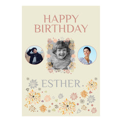 Pretty Scattered Flowers Poster <br/> with spaces for 3 photos and your name or message