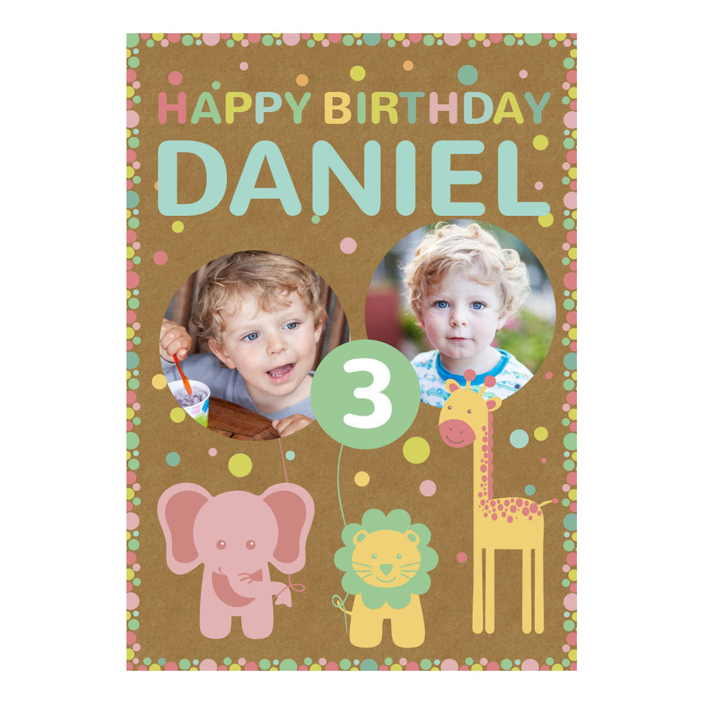 Pastel Animal Party Poster <br/> with spaces for 2 photos and your name or message