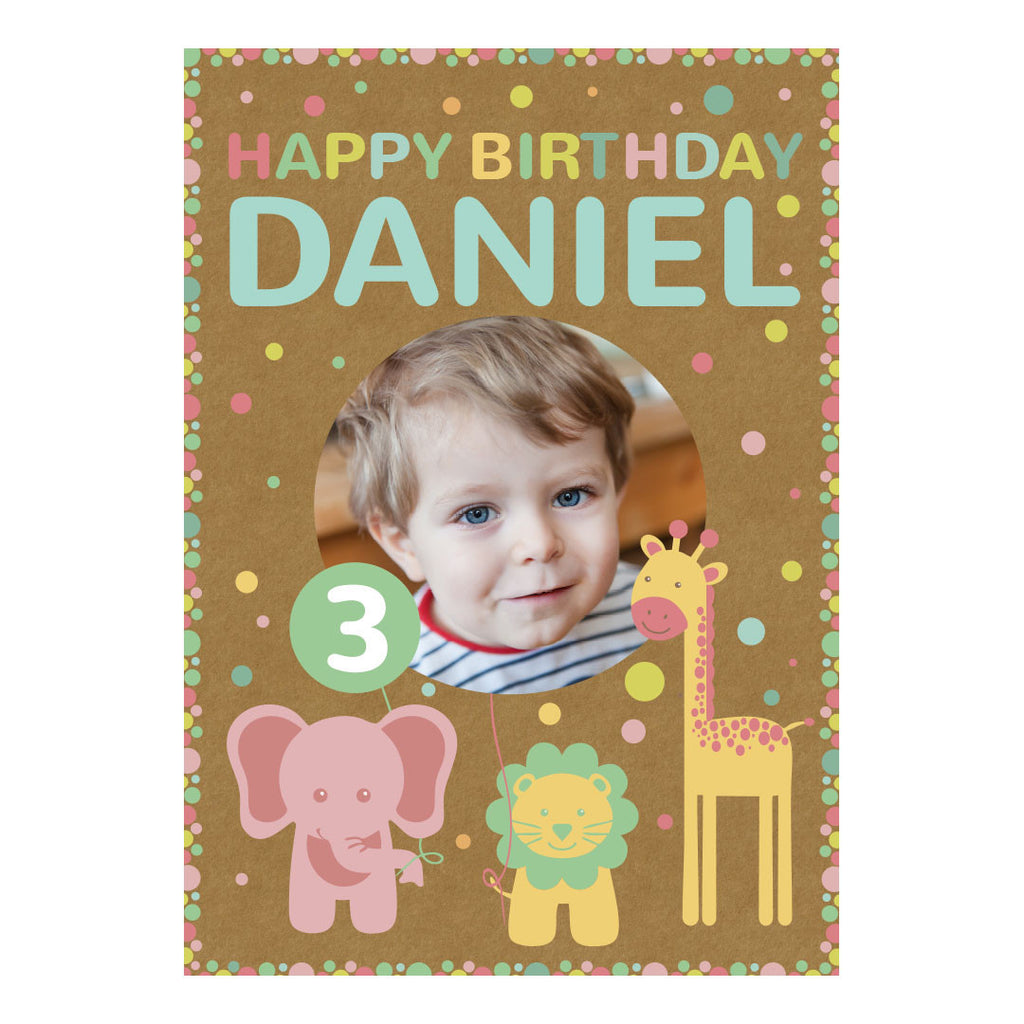 Pastel Animal Party Poster <br/> with a space for 1 photo and your name or message