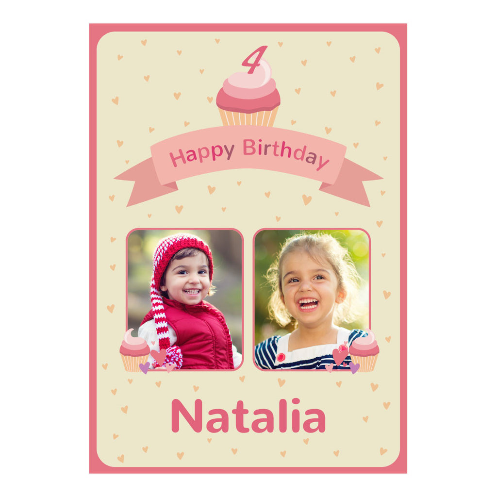 Cute Cupcake Poster <br/> with spaces for 2 photos and your name or message  Personalisable Poster Hello Party - All you need to make your party perfect! - Hello Party
