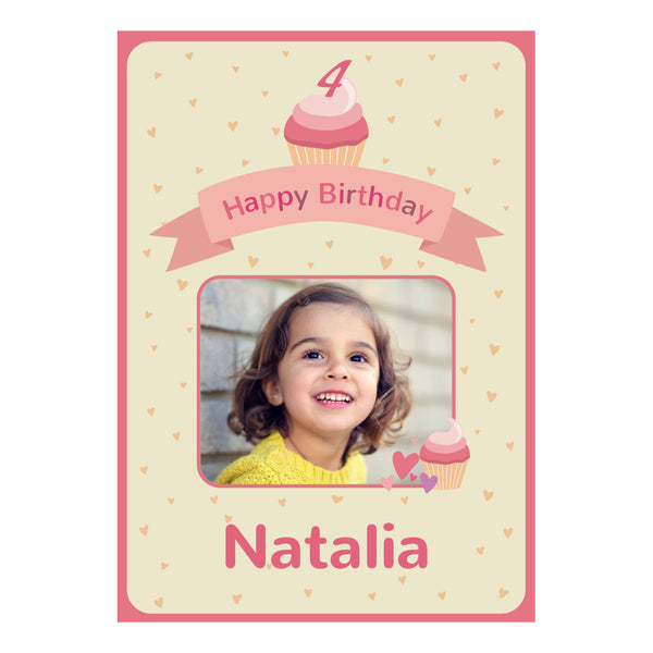Cute Cupcake Poster <br/> with a space for 1 photos and your name or message  Personalisable Poster Hello Party - All you need to make your party perfect! - Hello Party