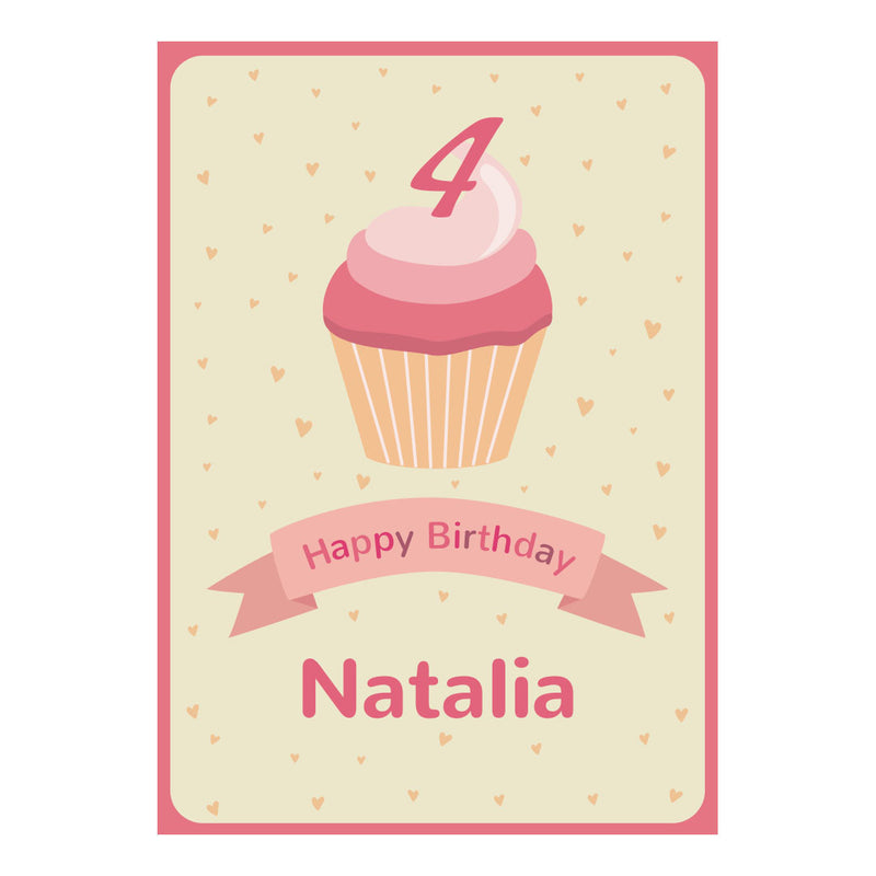 Cute Cupcake Poster <br/> with a space for your name or message  Personalisable Poster Hello Party - All you need to make your party perfect! - Hello Party