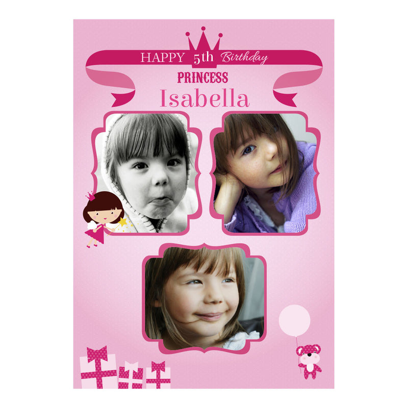 Fairy Princess Poster <br/> with spaces for 3 photos and your name or message  Personalisable Poster Hello Party - All you need to make your party perfect! - Hello Party