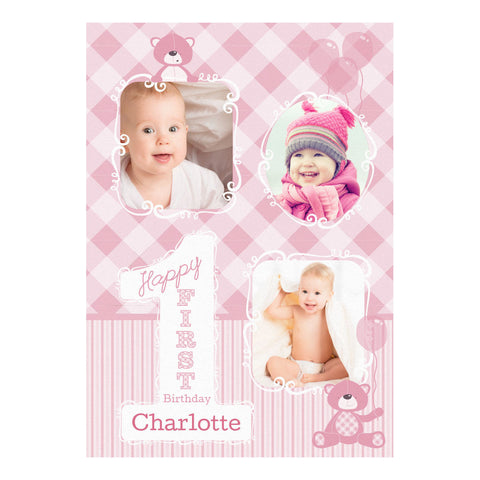 1st Birthday Bear : Pink Banner <br/> with spaces for 3 photos and your name or message - Hello Party - All you need to make your party perfect!