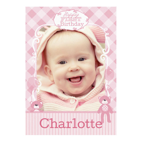 1st Birthday Bear : Pink Banner <br/> with a space for 1 photo and your name or message - Hello Party - All you need to make your party perfect!