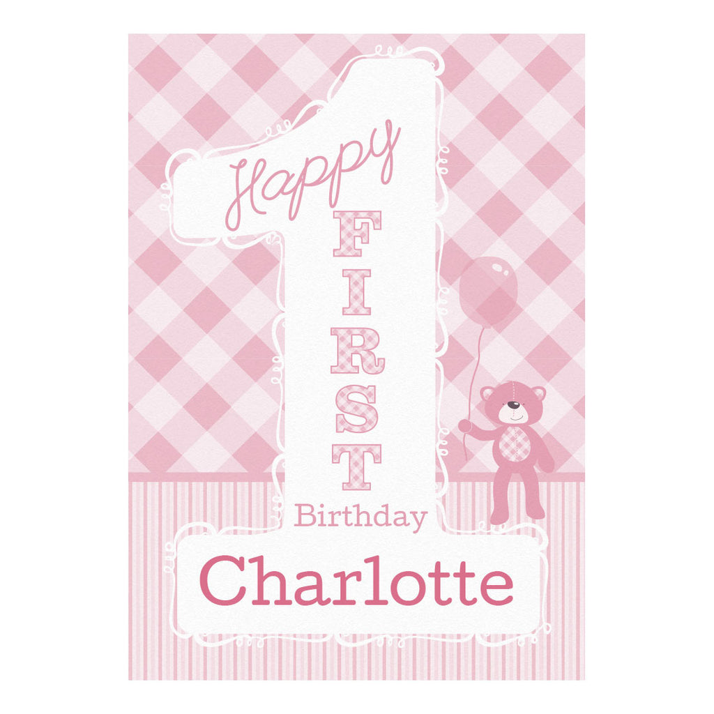 1st Birthday Bear : Pink Banner <br/> with a space for your name or message - Hello Party - All you need to make your party perfect!