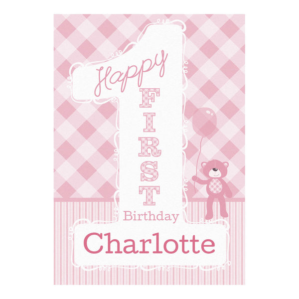 1st Birthday Bear : Pink Poster <br/> with a space for your name or message  Personalisable Poster Hello Party - All you need to make your party perfect! - Hello Party