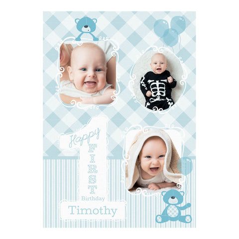 1st Birthday Bear : Blue Poster <br/> with spaces for 3 photos and your name or message  Personalisable Poster Hello Party - All you need to make your party perfect! - Hello Party