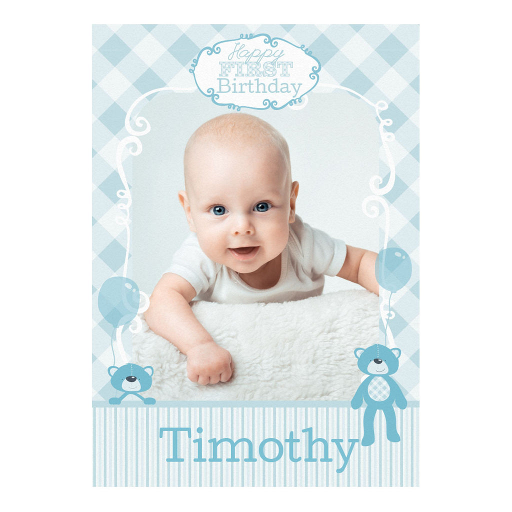 1st Birthday Bear : Blue Banner <br/> with a space for 1 photo and your name or message - Hello Party - All you need to make your party perfect!