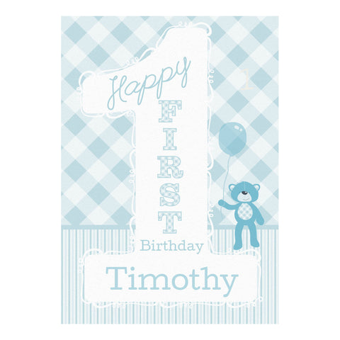 1st Birthday Bear : Blue Poster <br/> with a space for your name or message  Personalisable Poster Hello Party - All you need to make your party perfect! - Hello Party