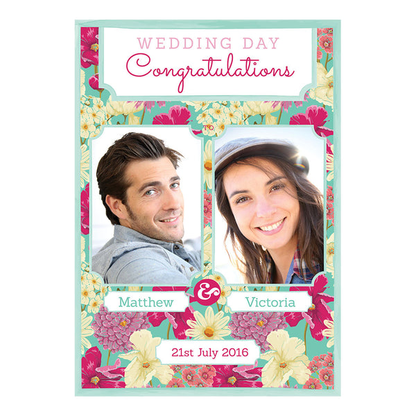 Big & Bright Wedding Blooms Poster <br/> with spaces for 2 photos and your name or message  Personalisable Poster Hello Party - All you need to make your party perfect! - Hello Party
